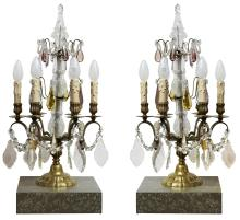 A PAIR OF ANTIQUE FRENCH CRYSTAL & BRASS TABLE LAMPS, CIRCA 1880. Featuring amber and amethyst drops, 58cm high, 30cm diameter