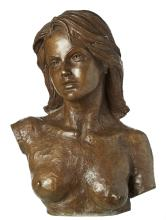 A DAVID BROMLEY LIMITED EDITION CAST BRONZE BUST OF A YOUNG WOMAN. 59cm high, 40cm wide, 25cm deep