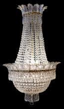 AN IMPRESSIVE FRENCH BASKET CHANDELIER, CIRCA 1920. Adorned with 'Prince of Wales feather' crystals, 142cm high, approximately 65cm..