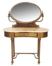 A CHARMING FRENCH BRASS AND ONYX DRESSING TABLE WITH ORIGINAL SCONCES FLANKING MIRROR, 135cm high, 100cm wide, 50cm deep