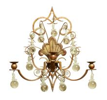 A FRENCH GILT WROUGHT IRON WALL SCONCE WITH GLASS PENDANTS. 41cm high, 39cm wide, 23cm deep