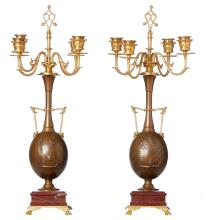 A FINE PAIR OF FRENCH GILT BRONZE CANDELABRA, SIGNED H. CAHILUX, CIRCA 1880. Foundry mark for Barbedienne, 53cm high, 26cm diameter