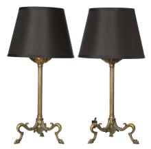 A PAIR OF ANTIQUE FRENCH BRONZE TABLE LAMPS, CIRCA 1890S. 61cm high, 30cm diameter