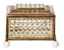 A RARE 19TH CENTURY HARD STONE & SILVER GILT PIERCED BOX, SET WITH ROSE CUT DIAMONDS, PINK SAPPHIRES AND RUBIES. Containing approxim...