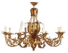 A GILT METAL ITALIAN CEILING LIGHT, CIRCA 1880S. Decorated with acanthus leaves, 68cm high, 80cm diameter