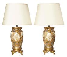 A PAIR OF ANTIQUE SATSUMA LAMP BASES, MOUNTED ON FRENCH BRONZE BASES, CIRCA 1880. Total height 61cm