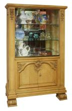 A FRENCH NATURAL OAK DISPLAY CABINET. 169cm high, 107cm wide, 43.5cm deep
