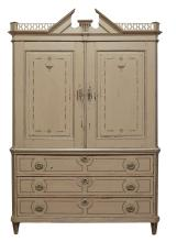 AN EARLY OAK SCANDINAVIAN CABINET, CIRCA 1850. Displaying decorative painted finish. 244cm high, 164cm wide, 56cm deep