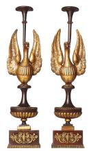 A PAIR OF FRENCH GILT ORNAMENTAL STANDS FEATURING EAGLES, CIRCA 1860. 68cm high