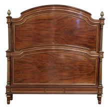 A FRENCH MAHOGANY AND BRASS INLAID BED, CIRCA 1880S. 136cm wide, 153.5cm high