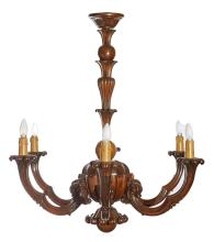 A FRENCH CARVED WOODEN SIX BRANCH HANGING LIGHT, CIRCA 1940. 93cm high, 86cm diameter