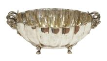 A FRENCH SILVER PLATE COUPE WITH RAMS HEAD HANDLES. 18cm high, 43cm wide, 30cm deep