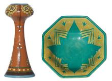 AN ENGLISH ARTS AND CRAFTS CERAMIC VASE AND AN ART DECO ROYAL VIENNA BOWL. The vase heavily glazed in floral and geometric designs,...