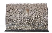 A ENGLISH STERLING SILVER MOUNTED STATIONARY BOX. 20cm high, 29.5cm wide, 14.5cm deep