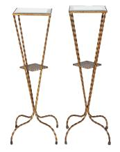 A PAIR OF MIRRORED IRON LAMP STANDS, CIRCA 1950. 82cm high