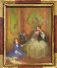 A FRENCH PASTEL PAINTING, TITLED 'LE SALON CHINOIS', EARLY 20TH CENTURY. Signed lower right hand side. The frame 31cm x 26cm