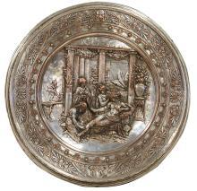 AN ELKINGTON SILVER PLATE PLAQUE, CIRCA 19TH CENTURY. Depicting a classical scene. 52cm diameter