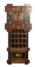 AN ANTIQUE ENGLISH WALL CLOCK, ADVERTISING WATSONS SCOTCH. 82cm high, 31.5cm wide, 12cm deep