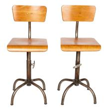 A PAIR OF VINTAGE POLISHED METAL AND PLY DRAFTSMAN CHAIRS. 92cm high