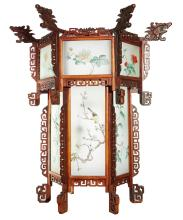 AN ELABORATE ORIENTAL LIGHT WITH HAND PAINTED GLASS PANELS, CIRCA 1920.