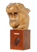 A FRENCH WOODEN CARVED PANTHER HEAD MOUNTED ON OAK STAND, 29cm high