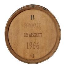A VINTAGE FRENCH WINE BARREL WALL MOUNT. 58cm diameter, 16cm deep