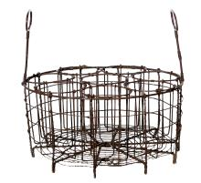 A UNIQUE FRENCH WIRE WORK EIGHT BOTTLE WINE CARRIER, CIRCA 1880.