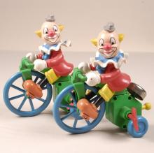 Lot of 2 Vintage Clown on a Tricycle Toys