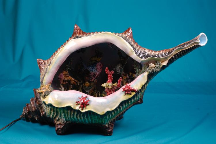 Ceramic Shell With Fish Night Light