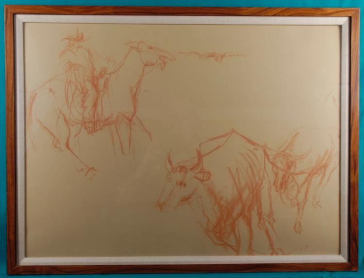 Framed Red Chalk Study of a Man on a Horse and a Bull