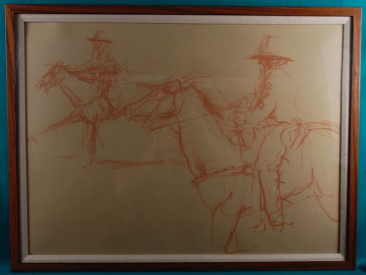 Framed Red Chalk Study of Man on Horses