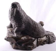 Metal Sculpture of a Walrus
