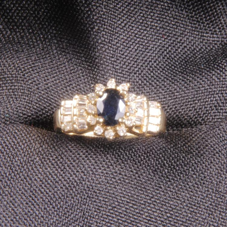 14k gold cocktail ring with sapphires and diamonds