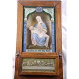 Antique Catholic Viaticum Pieta Religious last Rights Oak shadow box