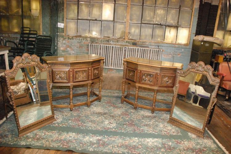 2 Sideboard Antique Flemish Tables and 2 Hanging Mirrors