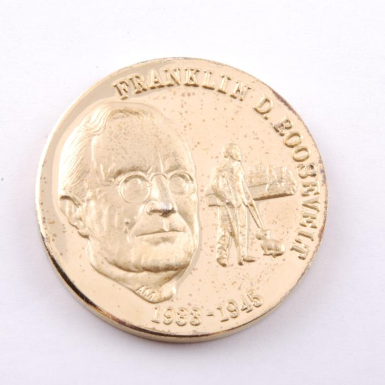Franklin D. Roosevelt Presidential Coin Gold Ep on Sterling