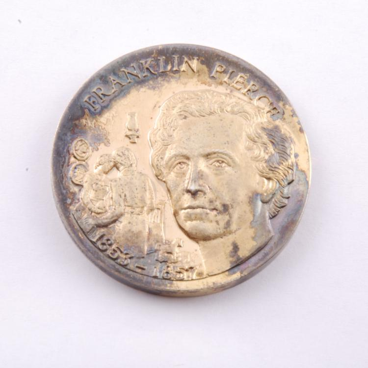 Franklin Pierce Presidential Coin Gold Ep on Sterling
