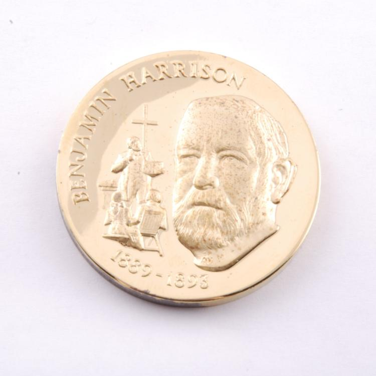Benjamin Harrison Presidential Coin Gold Ep on Sterling