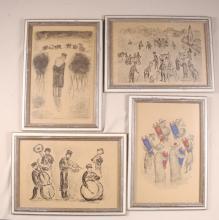 Lot of 4 Jewish S.Karczmar  Prints