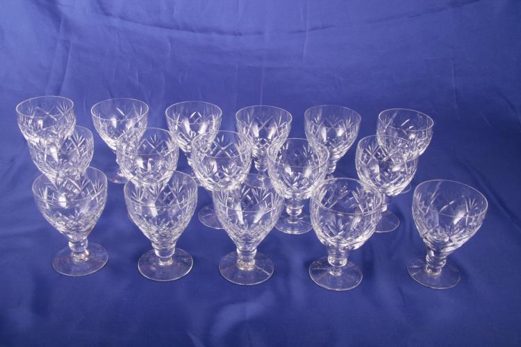 16 Claret Wine Glasses in Georgian by Webb Corbett