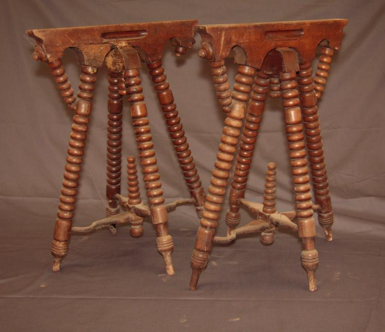 2 Antique Oak Funeral Folding Casket Stands