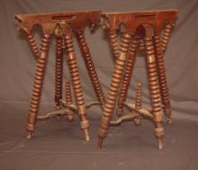 2 Antique Oak Funeral Folding Casket Stands