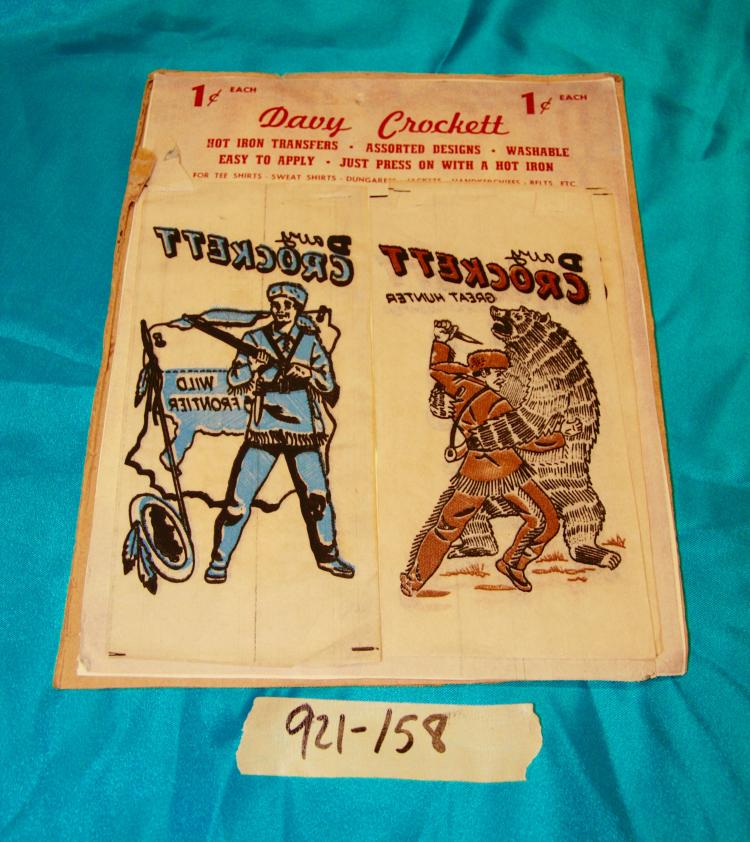 6 Davy Crockett Hot Iron On Transfers on Card