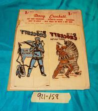 6 Davy Crockett Hot Iron On Transfers on Card