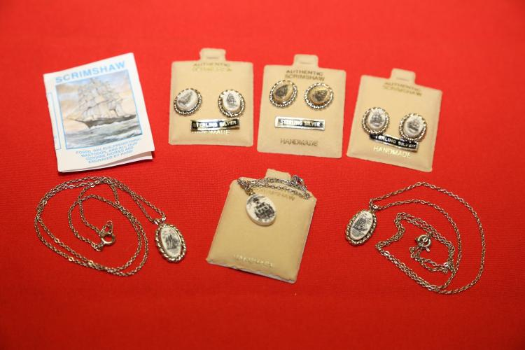 Scrimshaw hand carved fossil ivory lot of 6 sterling earrings & necklace.