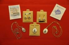 Scrimshaw fossil ivory neckless and earring lot. Gold filled and sterling.