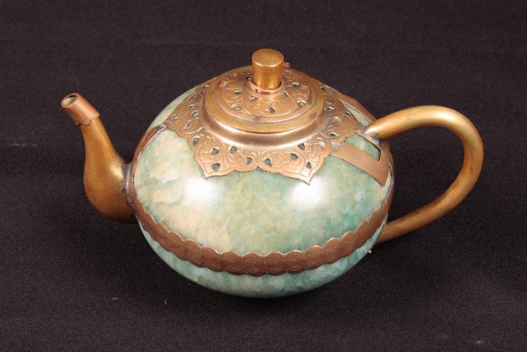 Antique Jadéite and brass tea pot