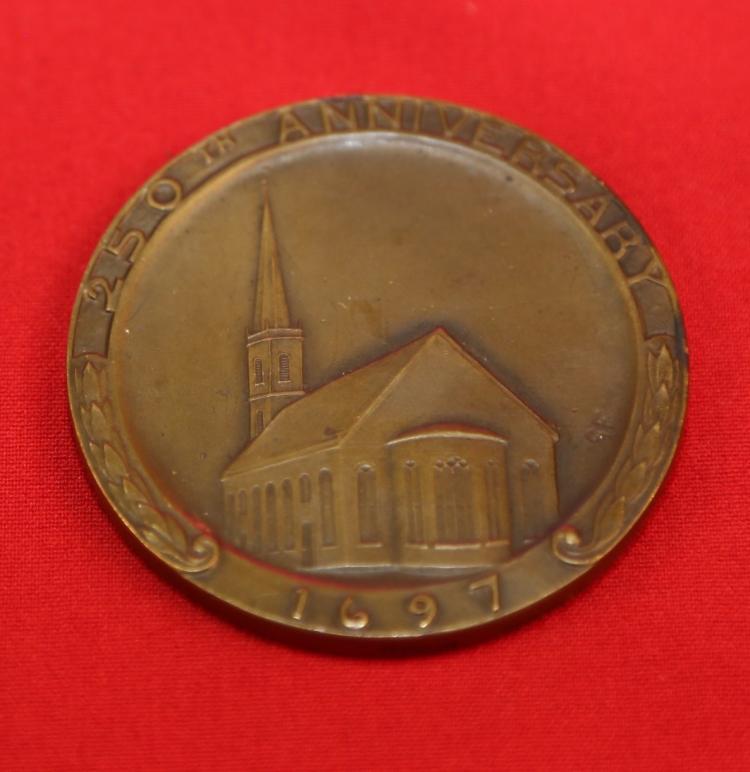 Bronze Medallion 250th anniversary Trinity Church NY. NY 1947