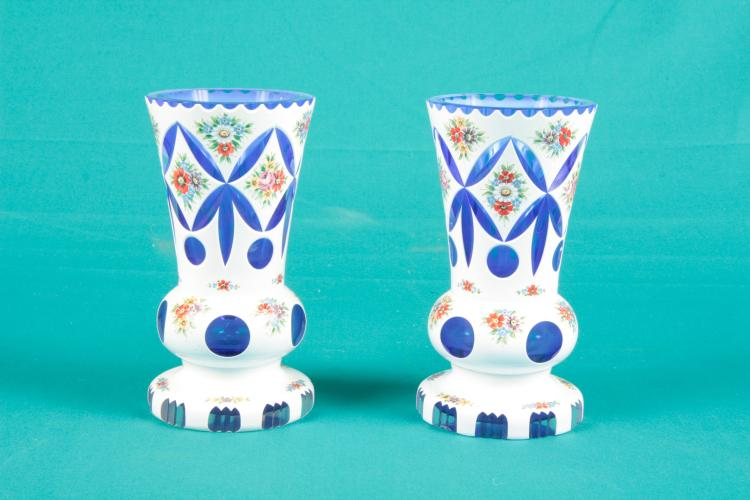 2 Bohemian cut glass vases.