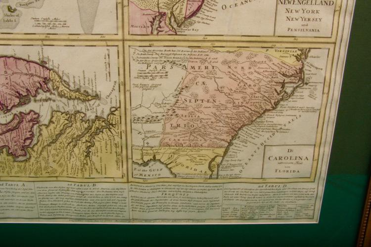 Hand colored antique map.